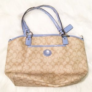 Coach tan/baby blue handbag